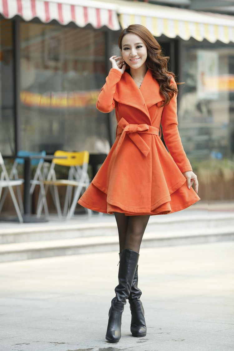 Korean Style Woolen Short Coat Dress W