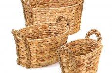 stocklot -  RUSTIC WOVEN NESTING BASKETS - 3 PC. SET