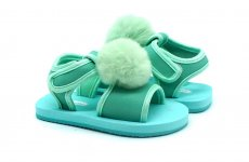 TradeGuide24.com - Atlantis Shoes Kids Fluffy Faux Fur Baby Turquoise Sandals