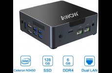 stocklot - Mini PC 6GB DDR4 AWOW Desktop Computer Windows 10 Intel Celeron N3450 128GB SSD/Dual LAN/ 2.4G+5G Du