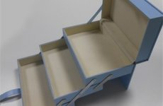 stocklot - Blue Collapsible Leather Cosmetic Box
