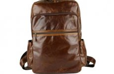 stocklot - Vintage Men Casual Canvas Leather Backpack Rucksack Bookbag Satchel Hiking Bag