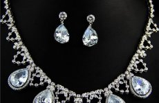 stocklot - Wedding Costume Jewelry Set 5 Shinny Tear Drop Cubic Zirconia