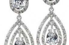 stocklot - Double Tear Drop Cubic Zirconian Dangle Earrings
