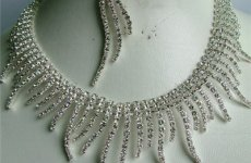stocklot - Rhinestone Jewelry Sets For Bridesmaid Rhodium Silver Rhinestone Bridesmaid Necklace