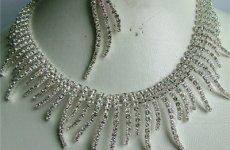 TradeGuide24.com - Rhinestone Jewelry Sets For Bridesmaid Rhodium Silver Rhinestone Bridesmaid Necklace