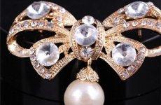 stocklot - 2015 Korean Fashion Manual Bow Brooch, Pearl Crystal Diamond Brooch