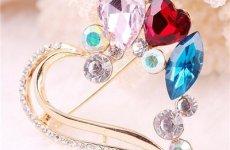 stocklot - 2015 Korean Fashion High-grade Crystal Alloy Hollow Peach Heart Brooch