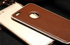 stocklot - Iphone 6 Plus Aluminum Frame Genuine Leather Back Cover Push And Pull Phone Case