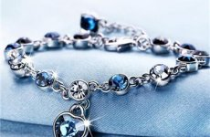 stocklot - Hot Sale Zodiac Blue Austrian Crystal Heart Charm Bracelet, Adjustable Bracelet Jewelry Wholesale Fo