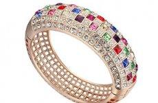 stocklot - Multicolor Austrian Crystals Cuff Bracelet, Rose Gold Plated Filigree Bangle, High Quality Handmade