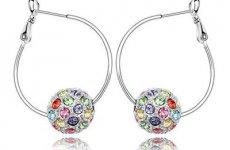 stocklot - Genuine Gold Plated Colorful Ball Rhinestone Hoop Diamond Stud Earrings Manufacturer