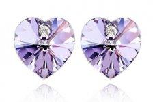 stocklot - Gold Plated Heart Shape Austrian Crystal Stud Earrings For Women
