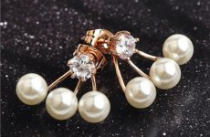 stocklot - Gold Plated AAA Zicron White Imitation Pearl Front & Back Bundle Cuffs Earring Jackets Ear Studs Ear