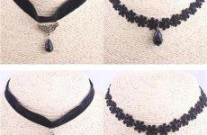 stocklot - DIY Lolita Black Choker Necklace Lace Pendant Necklace Trending Design