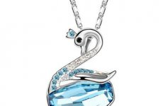 stocklot - Noble Love Wedding Design Made With Austrian Crystal Swan Pendant Necklace