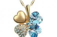 stocklot - Hot Sale Gold Plated 4-leaf Lucky Clover Austrian Crystal Pendant Necklace For Women Gifts