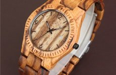 stocklot - Water Resistant Natural Zebrawood Watch For Ladies